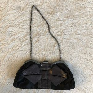 Lulu Townsend black bow chain clutch purse